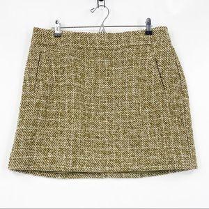 Banana Republic green wool tweed mini skirt
